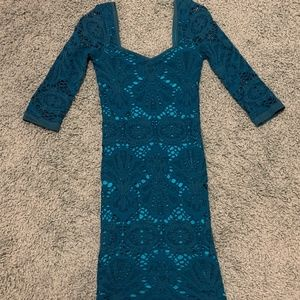 Teal Free People Intimately Body Con Cocktail Dres